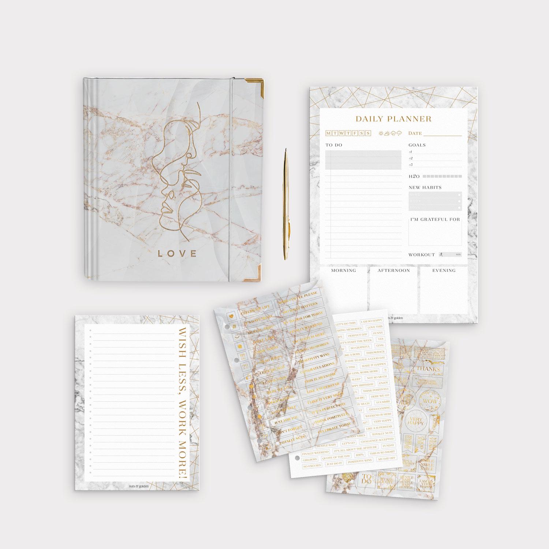 Planer Bundle White mit Daily Planer und Notizblock sowie passenden Marble Stickerbögen