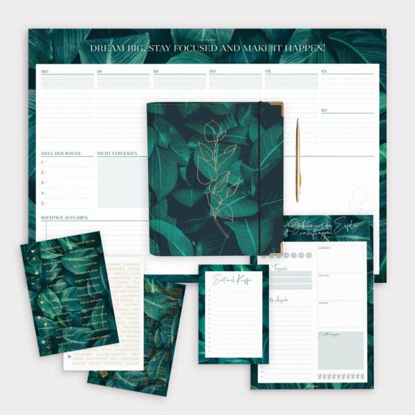Planer Bundle Greenery mit Ringbuch und Schreibtischunterlage sowie Notizblöcken und passenden grünen Stickerbögen