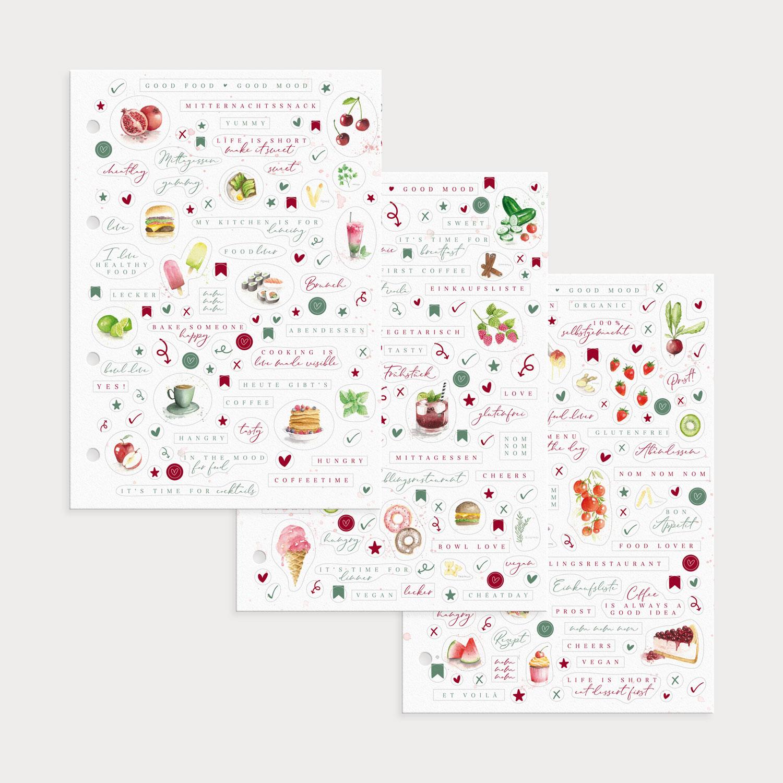 Drei bunte Stickerbögen der Good Food Good Mood Kollektion