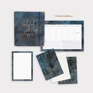 Planer Bundle Midnight mit Ringbuch und Wochenplaner sowie Notizblock und passenden Stickerbögen