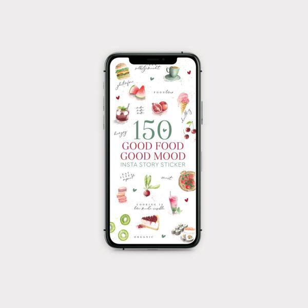 Sticker Good Food Good Mood iPhone Screen