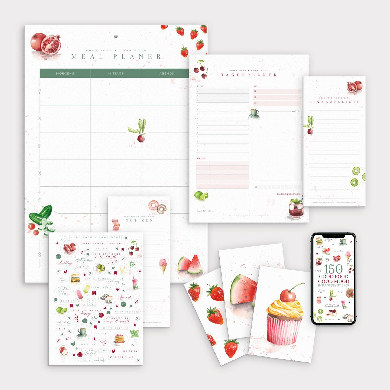 Set Good Food Good Mood mit Meal Planner Tagesplaner Einkaufsliste und Food Stickern
