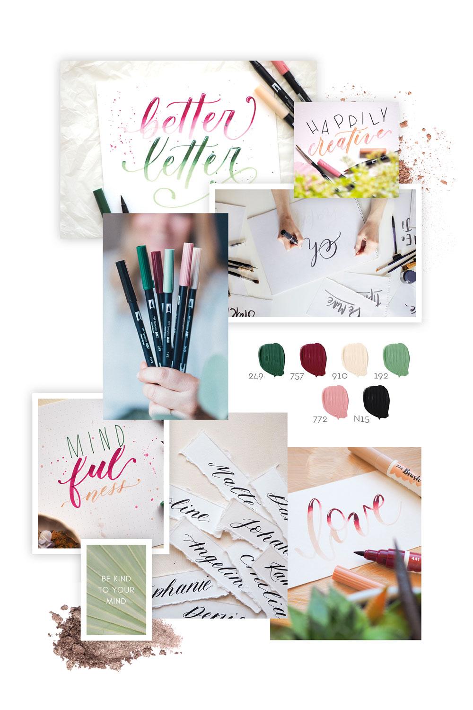 Moodboard Brushlettering und Handlettering mit Brush Pens