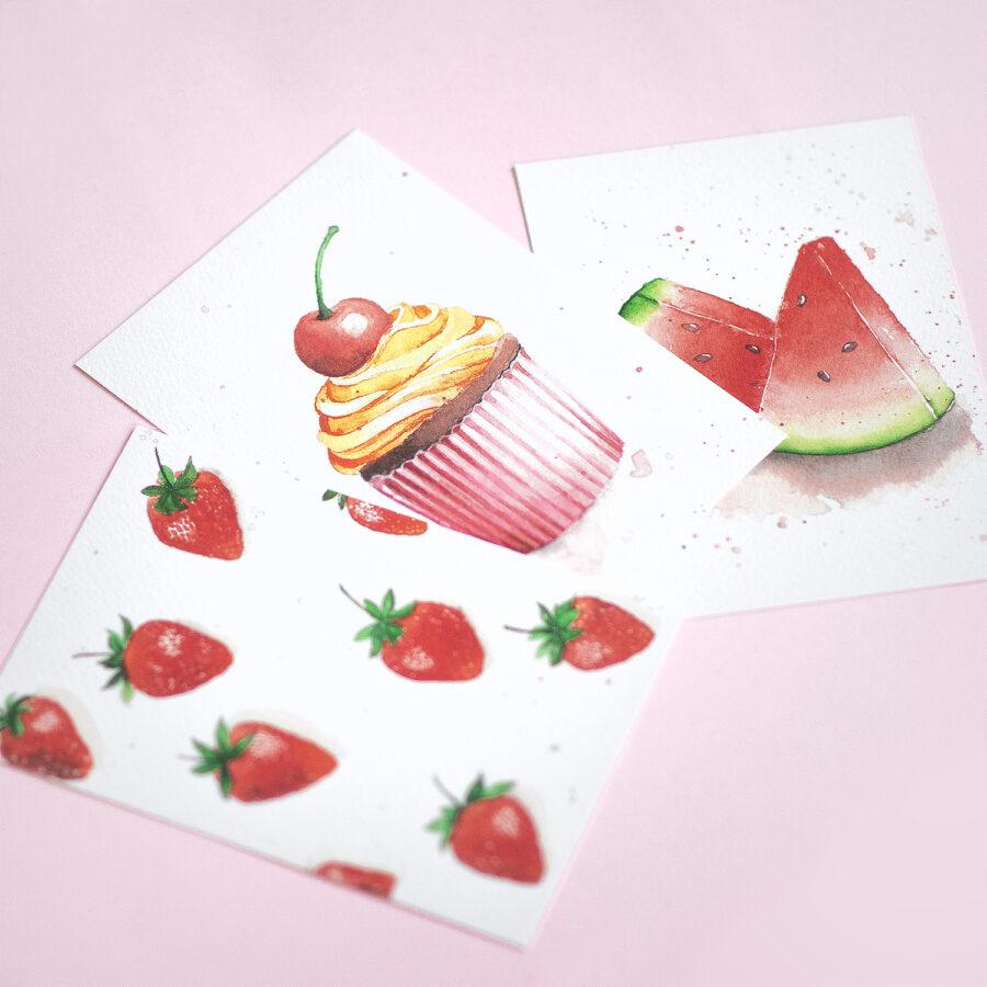 Drei Postkarten mit Watercolor auf rosanem Hintergund