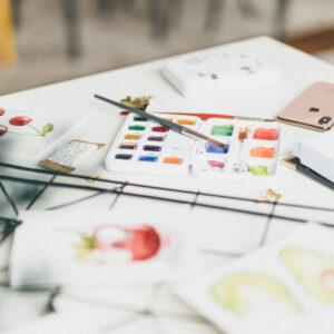 Watercolor Aquarellkasten mit ausgewählten Farben