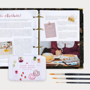 Watercolor Beginner Bundle mit Guide Aquarellkasten und drei Pinsel