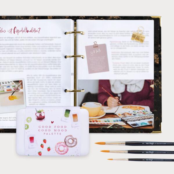 Watercolor Beginner Bundle mit Guide Aquarellkasten und drei Pinsel