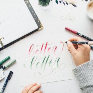 Brushlettering und Handlettering Schriftzug üben