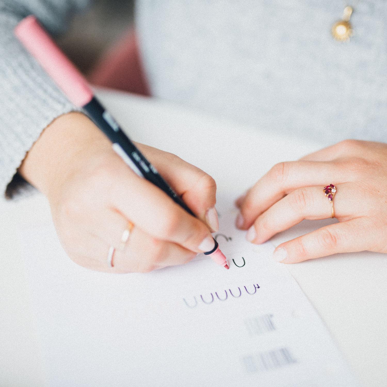 Brushlettering und Handlettering Übungsblatt