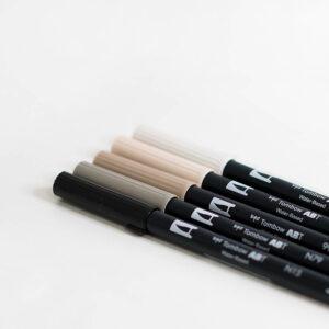 Tombow Brush Pen Set Nude mit Doppelspitze für Handlettering