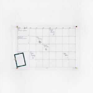 Acrylboard Monatsplaner mit Notizblatt Greenery