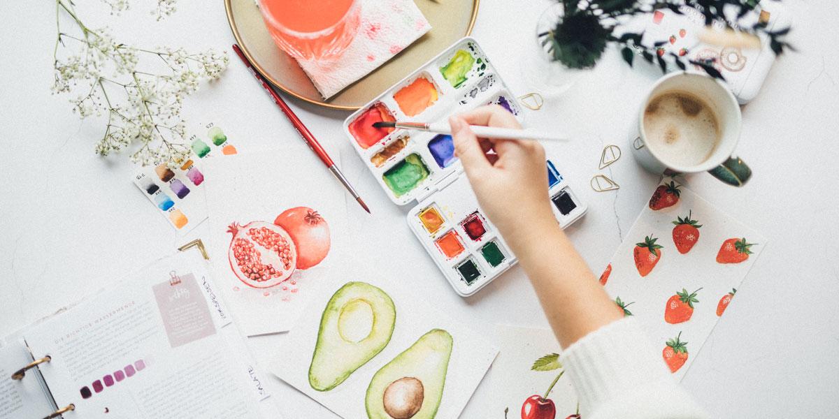 Watercolor Farbkasten und Pinsel aus dem Beginner Bundle