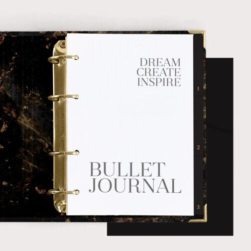 Bullet Journal Book Black mit schwarzem Register und schwarzen Taschen