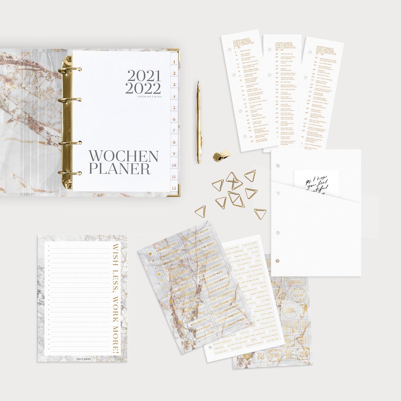 Planer Bundle White mit Wochenplaner 2021/2022