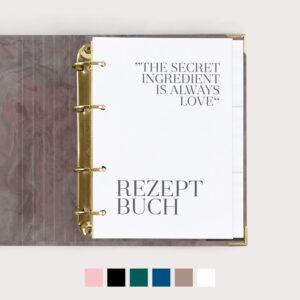Rezeptbuch Nude mit weißem Register und weißen Taschen