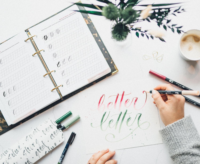 Brushlettering Beginner Guide mit bunten Tombow Brush Pens